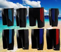 3 Striped Men Swimwear Profession gym male swim shorts trunks Waterproof swimsuits Fashion men print Knee length surfing Shorts