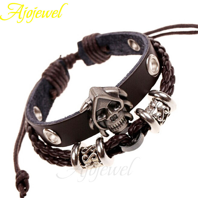 2pcs/lot Christmas Gifts 2014 Men Jewellery 2014 Skull Bracelet Bangles Women Pulseira De Couro(China (Mainland))
