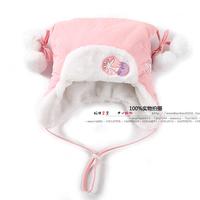 new 2014 autumn winter hat children accessories girls warm bonnet baby girls pink Christmas Snow flowers pompon hat baby caps