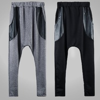 free shipping music boy Splice pants Men's casual cotton and polyester  trousers loose boy trousers,fashion sweatpants X132