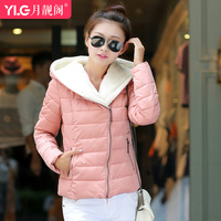 Down coat female 2014 thickening with a hood winter short design slim plus size zipper outerwear