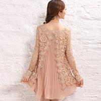 2013 spring loose long-sleeve women's basic shirt lace chiffon one-piece dress