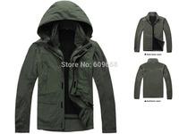 new fashion 2-piece set men winter skiing jacket waterproof / windproof outwear  army green plus size #8902