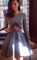 2014 New Arrive Free shipping PU fashion long-sleeved dress stitching CUT OUT Women Fashion Winter Dress