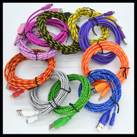 Durable 3m/10ft ROUND Fabric braided Nylon Noodle 8 pin USB Data Charger Woven cable for iPhone 6 plus 5 5s IOS 8 7.1.2 50pcs