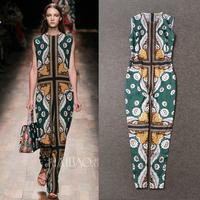 New Arrival Runway Summer 2015 Stunning Printed Sleeveless Silk Jumpsuits for women 141109Z02