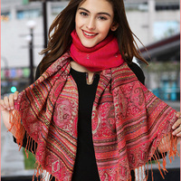 Russia Retro style Winter Printing Fringe Polyester Shawl Tassel Warm Women Scarf Apparel Accessories Scarves Wraps