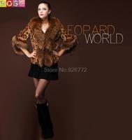 2015 New Winter Jackets Women High Imitation Fox Fur Collar Nagymaros Raccoon Fur Leopard Coat Cape Sleeves Female