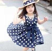 Free ShippingGirls dress polka dot dress sash bow dress