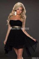 2014 New Arrival Sexy Women's Chiffon Dress Fashion Lace Overlay Top Sleeveless Mini Chiffon Clubwear Dresses 5 Colors