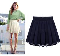 2014 European Summer Fashion Brand Women Mini Skirt Lace Pleated Short Dark Blue White Sexy Club Design Woman Skirts Plus Size