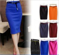 2014saias femininasCandy Color  Women Elastic Slim Medium-long High Waist Skirt Pockets Skirt with Belt