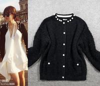 Best Grade New Fashion Celebrity Style 2014 Winter Women Beading Deco Black Wool  Sweater Coat Loose Cardigan Sweater Outerwear