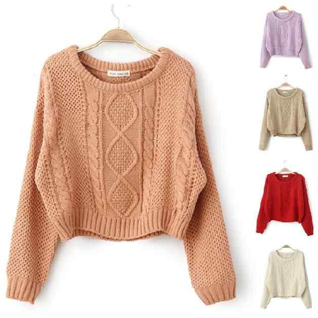 2014 new fan retro high waist fashion short twist knit cropped Turtleneck Sweater women(China (Mainland))