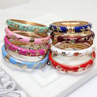Cheap promotion!!! 8 color kids jewelry cloisonne enamel cuff bangle bracelet 5.2 cm B2-026