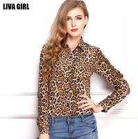 Free Shipping 2014 S-XXL Plus Size European Vintage Womens Chiffon Shirts Tops Summer Autumn Leopard Print Long Sleeve Blouses