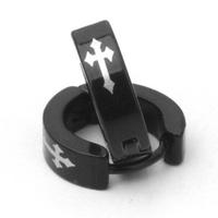 Brand designer fashion titanium steel earrings punk gothic black silver cross earrings