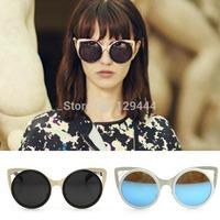 Free Shipping Vintage Coating Lens Metal Cat Eye Hollow Frame Cat Eye Round Sunglasses Women oculos de sol Fashion Sun Glasses
