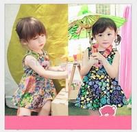 2015 new baby girls dress Korean girls' Cotton Striped one-piece with free Necklace,14NOV9