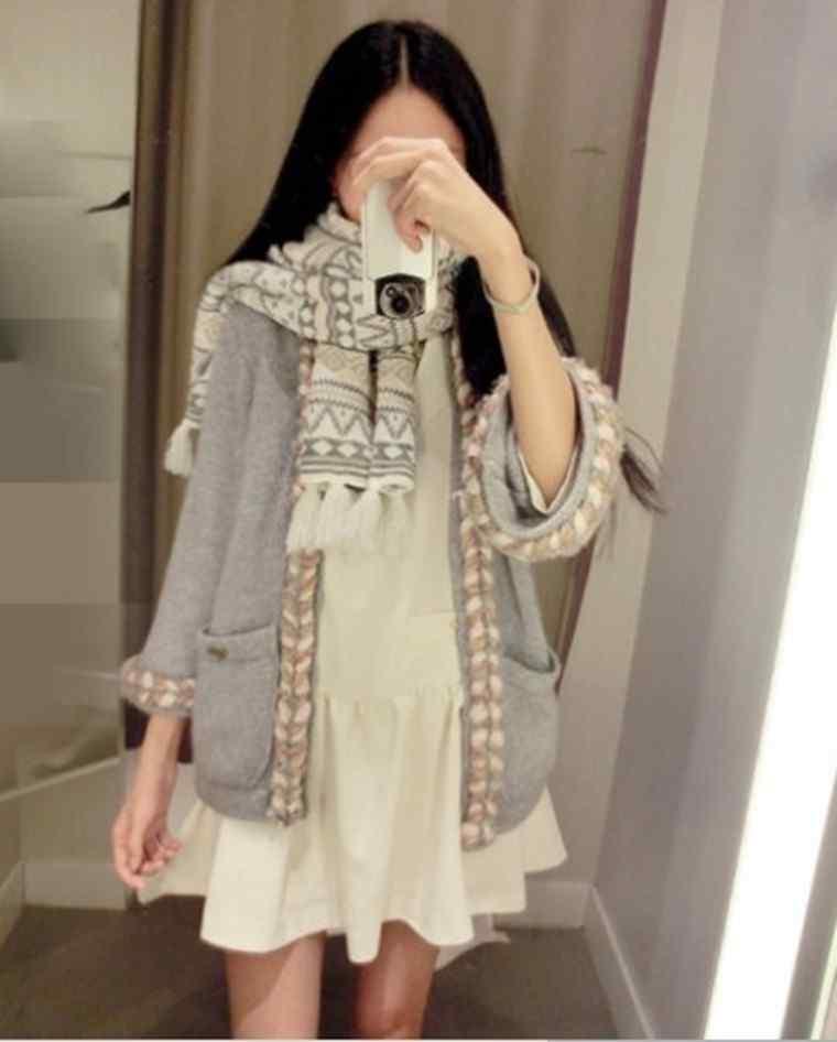 2014 Shishi Liu led series genuine twist boundary Cardigan Pocket sweater(China (Mainland))
