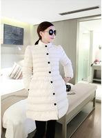 Free Shipping2014 Winter bow slim long fluffy hem cotton padded coat jacket