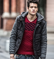 new fashion men hooded winter jackets ,male casual patchwork winter coats 75010   3colors