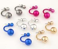 2015 Ladies Earrings Korean fashion sweet personality OL flash Compact candy colors beads earrings Women Free shipping Z&E2103