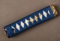 Hand made Tsuka Handle (15cm) for Japanese Tanto Short sword  including alloy Fuchi/ Kashira, Menuki,  rayskin 05