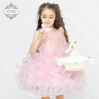 frozen dress baby girl vestidos infantis pink flowers layered dresses girls weding lolita princess dress sleeveless kidsdress