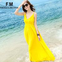 New Arrival Lemon Women Yellow Dresses Cotton Beach Dress Vestidos Spaghetti Strap Sexy Maxi Dresses Summer 2015 SS15D050