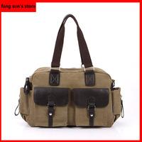Korean male fashion casual canvas shoulder bag Messenger bag retro multi-pocket with