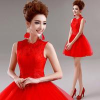 Red lace evening dress short dress design dress winter A2189#