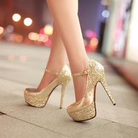 Bride wedding dress shoes bridesmaid shoes fashion gold high-heeled sandals wedding pumps