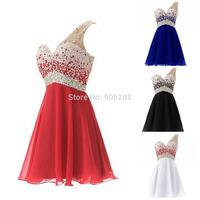 Cheap Evening Dress to Party Vestido De Festa One Shoulder Homecoming Dress with Beadings Short Bridesmaid Dress Prom Dress