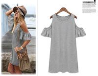 2014 woman clothes butterfly sleeve cotton cute strapless dress women dress t shirt novelty dress
