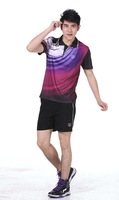 2013 new short-sleeved badminton clothing breathable perspiration absorbent male and female models 1161 shorts+shirts