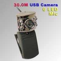 O3T# Good Quality USB 30.0M 6 LED Webcam Camera With Mic Web Cam for Desktop PC Laptop Notebook
