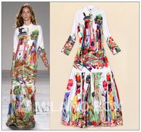 Brand Fashion Runway Maxi Long Dress 2015 Fashion Trend Women's Long Sleeve Vintage Character Print Mopping Floor Length Dress