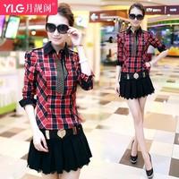 2014 casual fashion set Women small check elegant autumn long-sleeve one-piece dress