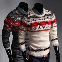 Free shipping new winter jacquard sweater Korean Slim retro male sweater