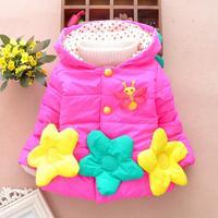3pc/lot girls coats christmas baby clothing flower princess new kids outerwear cotton thicken jackets panya jll10