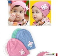 Free Shipping (10pcs/Lot) 2014 Baby New Hat Cute Rabbit Baby Knitted Hats Kids Cotton Hats Dot Crochet Bonnet Baby Winter Caps