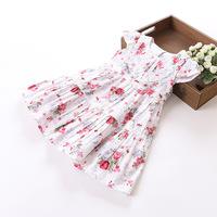 Hu Sunshine wholesale New 2014 Summer hot sale girls dresses fly sleeve floral print lace princess causal  dress ZLF110805H
