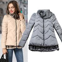 New women's zipper thick ruched cotton winter jacket high quality fashion women coat free shipping