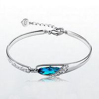 top quality S925 Sterling Silver Blue Sky Blue Crystal Zirconia Diamond Princess Bracelet Free Shipping