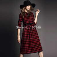 Spring Autumn Disigner Brand England Style High Fashion Women Vintage O Neck Button Three Quarter Sleeve Classic Plaid Dress