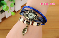 HOT SALE Watch for  Women Genuine Leather Vintage Watch Womens Leaf bracelet Wristwatches Dropship