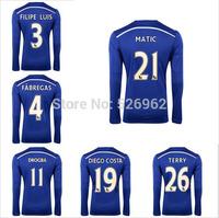 Free Ship14 15 Soccer Chelsea Long Sleeve Men's Blue Home Kit Jersey HAZARD DROGBA FABREGAS DIEGO COSTA Best Quality Thailand