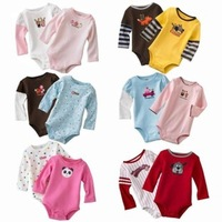 Retail 5pcs/lot 0-2yrs long-Sleeved Baby Infant cartoon bodysuits for boys girls jumpsuits Clothing 2014 new free shipping