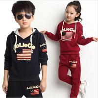 2014 Autumn Paragraph Sweater Suit Large Piece Suits Spring Korean Alphabet Flag Kids Children Clothing Set